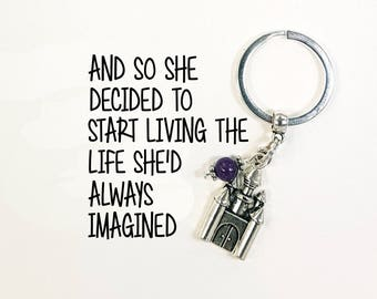 Castle Keyring - Castle keychain - Live the life you dream of - Inspirational Keychains - Motivational sayings - SCC1008