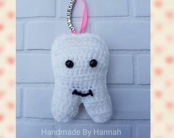 Handmade crochet tooth fairy pillow