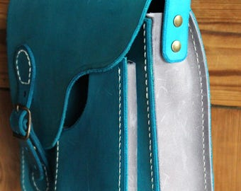 """Urban"" Turquoise Blue Leather handbag"