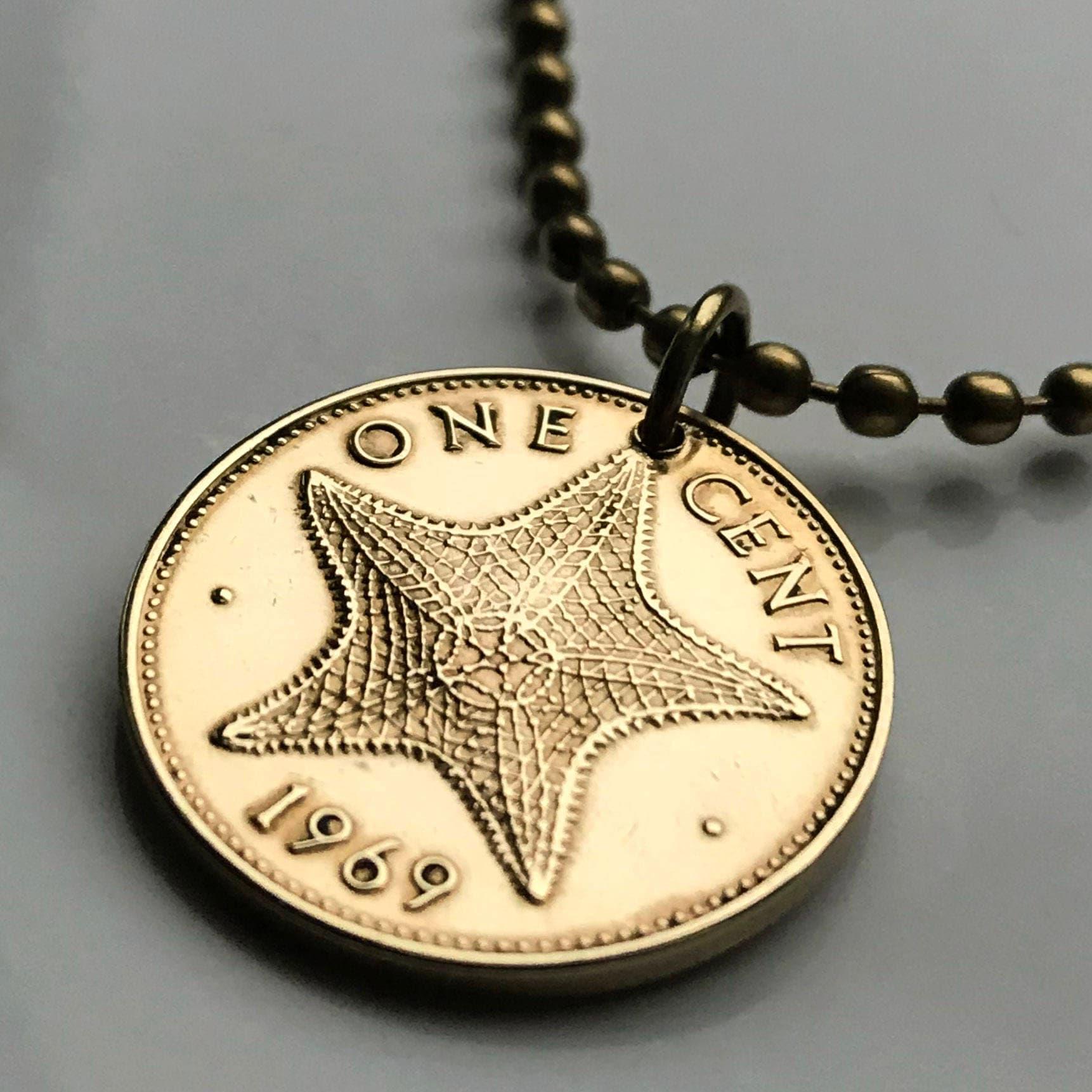 1969 Bahamas cent coin pendant Bajan starfish Nassau beach