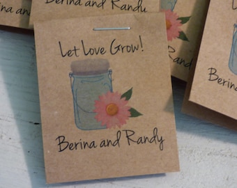 Personalized Mason Jar with Pink Gerber Daisy Design MINI Seeds Let Love Grow Flower Seed Packet Favor Shabby Chic Rustic Cute Little Favors