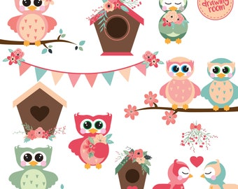 Spring owls clipart, floral clipart, wedding clipart, flower clipart, clip art, spring clipart, owl clipart, bunting clipart, birdhouse, png