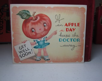 Adorable unused die cut colorful anthropomorphic get well card little girl with apple head and basket full of red apples