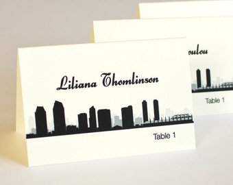 San Diego Place Card Skyline Handmade Custom Personalize Wedding Bridal Sign Table Setting Escort
