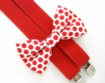 Red Polka Dot Bow Tie and Suspender set -Bow Tie and Suspender Set for Baby,Toddler and Boys,Children Suspender and bow tie set