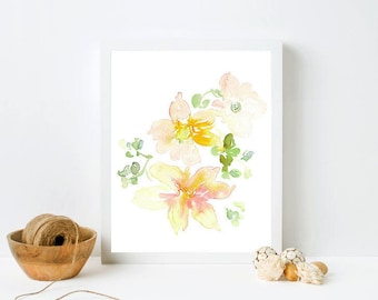 Framed Floral Print - Soft color art, print in frame, watercolor floral, pastel flowers, white framed print, neutral floral print, yellow