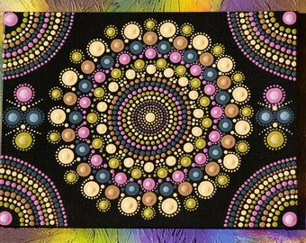 "Original hand painted Mandala, dot art, dot painting ""Pale Doilies Mandala"" colourful wall art  #44."