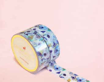 VINTAGE BLUE FLOWERS Washi Tape | Masking Tape | Korean Washi Tape | Vintage Flower | Deco Tape | Scrapbooking | Japanese Tape | Paper Tape