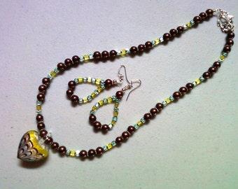 Heart Neckace and Earrings (0725)
