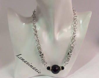 Chainmail Black Pearl choker/Black Pearl chainmail choker Neckalace