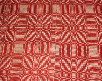 Antique Coverlet 1800s Red and White Reversible Antique Jacquard Weave