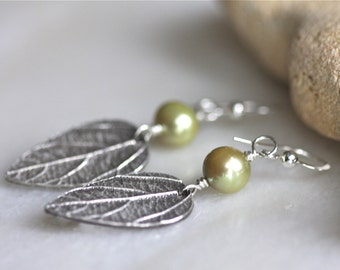 Silver leaf earrings with soft green fresh water pearl