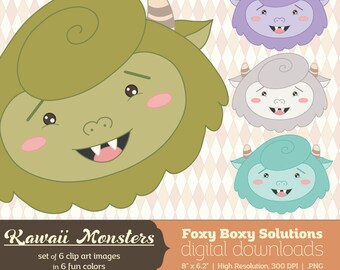 Kawaii Monsters Clip Art Pack: Set of 6 Colorful Cute Monsters Clip Art Images, instant download, digital download