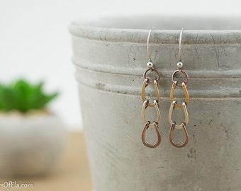 Mixed metal earrings, sterling silver, copper , jewelers brass, horse shoe pattern, handmade, nickel free jewelry
