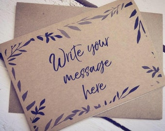 Personalised cards - write your own message - birthdays, weddings, thank you cards