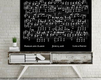 Canvas Music Art First Dance Song First Anniversary Overlapping Sheet Music Print Personalized CANVAS Music Print Choose Colors