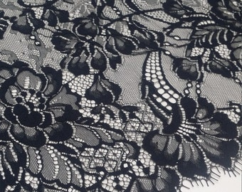 Black Lace fabric French Lace, Chantilly Lace Bridal lace Wedding Lace Evening dress lace Scalloped Floral lace Lingerie Lace J898801