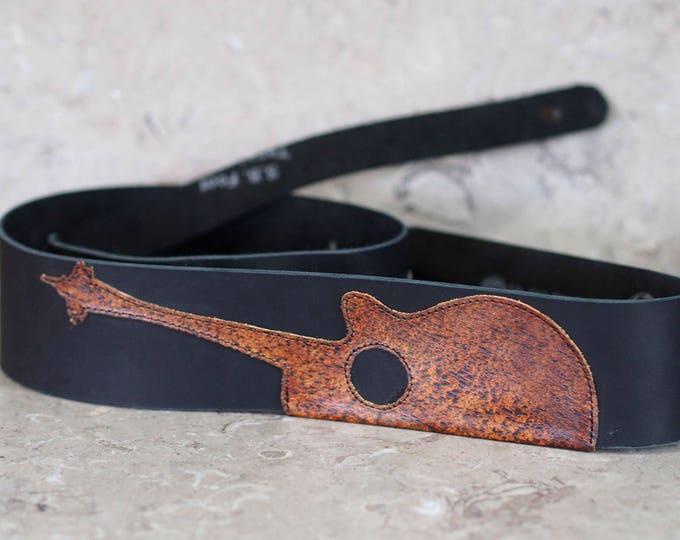 Laser cut Acoustic Needle Leather Guitar Strap version 2