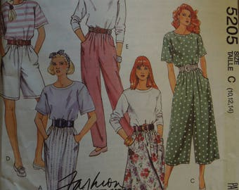 McCalls 5205, sizes vary, UNCUT sewing pattern, craft supplies, pullover top, skirt, split skirt, pants