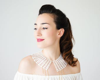 Lace Collar White Collar Vintage Collar Statement Necklace Gift For Her Birthday Gift Sister Gift Bridal Collar Inspirational/ VESSINA
