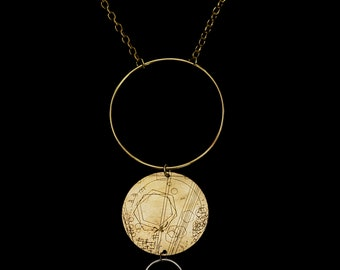 Lyra Hand-Etched Circle Brass and Sterling Silver Statement Necklace with Brass Chain