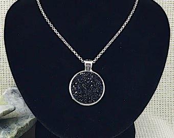 Black Druzy Necklace - Drusy - Statement Necklace - Pendant - Black - Druzy - Necklace - Jewelry - Bridesmaid Necklace - Bridesmaid Gifts -