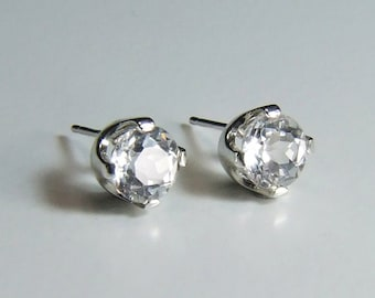 Sparkling White Topaz, 6mm Round Cut, Sterling Silver Stud Earrings