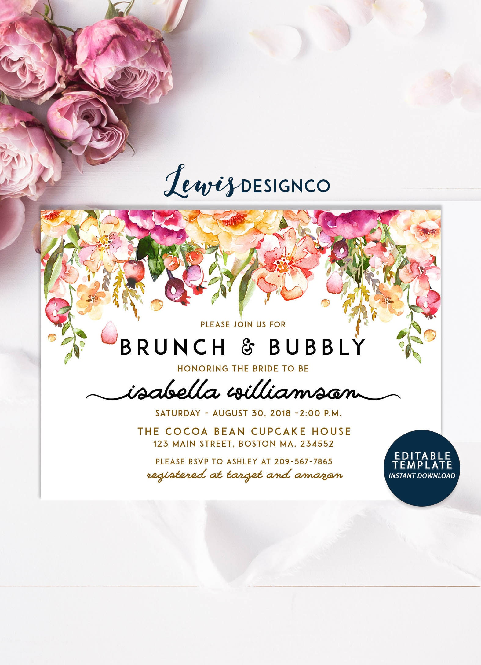 Brunch and Bubbly Invitation Floral Bridal Shower Invite