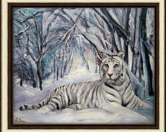 Oil on canvas  WHITE TIGER