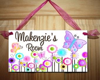 Multicolour Butterfly Girls Bedroom and Baby Nursery Kids Bedroom DOOR SIGN Wall Art DS0062