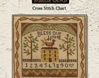TERESA KOGUT Bless Our Home counted cross stitch patterns at thecottageneedle.com folk art sampler angel quaker