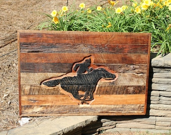 Wood Relief Carving of Pony Express Rider - Wood Relief Carving - Reclaimed Barnwood - Reclaimed Wood Wall Art - Rustic Decor - Wall Art