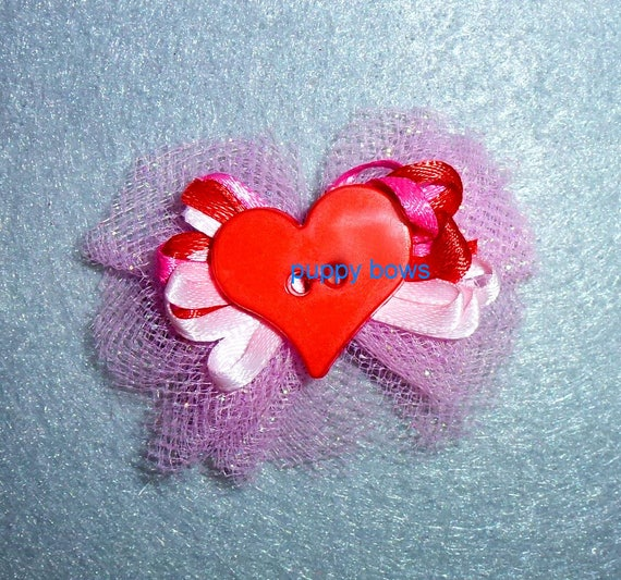 Puppy Bows ~ ballerina tulle pink red glitter heart pet hair bow  ~Usa seller (fb94)