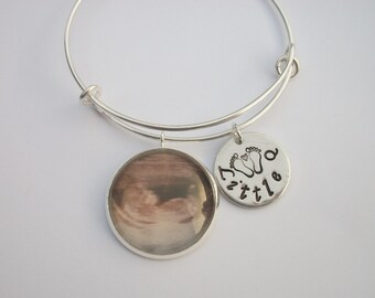 Little Q Adjustable Bangle Bracelet - New Baby Announcement - Ultrasound Photo - Personalized