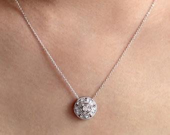 Art deco pendant etsy 025 ctw art deco pendant necklace brilliant cut diamond simulants wedding neckalce audiocablefo