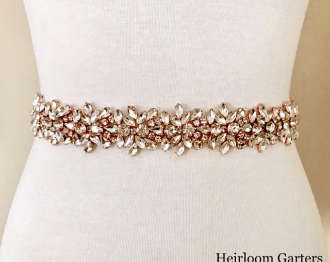 SALE - Rose Gold Bridal Belt, Bridal Sash, Wedding Belt, Wedding Sash Rhinestone and Pearl Sash B04RG