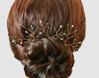 Pearl and crystal hair pins, leaf vine pins, bride, bridesmaids hair accessories, green, red,  bridal hairpin, bridesmaid flower girl,