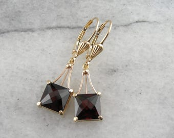 Stunning Red Garnet Drop Earrings in Yellow Gold, Classic Elegance K0T8CM-P