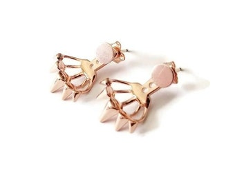 Rose Gold Spike Earrings - Ear Jacket Yellow Gold Earrings - Dainty Circle Disc Stud Earrings - Spiked Triangle Boho Ear Jacket