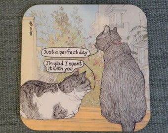 Cats coaster - Perfect day - featuring Rafi and Spageti, the famous Israeli cats from Ha'aretz Newspaper Comics