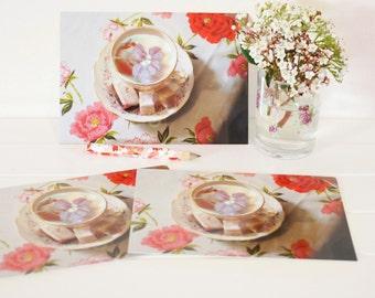postcard set, high tea party favours, tea postcards, tea thank you cards, tea lover gift