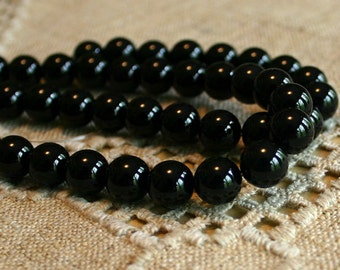 40pcs 10mm Black Onyx Natural Gemstone Beads 16 Inches A-Grade