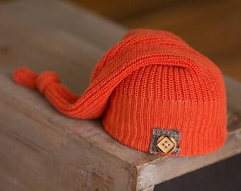 Newborn Boy Hat, Orange Newborn Hat, Fall Newborn Hat, Upcycled Newborn Hat, Newborn Photography Prop, Newborn Beanie, Newborn Knot Hat, RTS