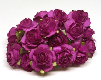 Purple Tattered Mulberry Paper Roses Tr007