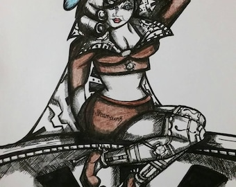 Steampunk Pin Up Girl Drawing