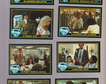 Lot of 8 Superman III movie trading cards, like new condition. Pub. 1983
