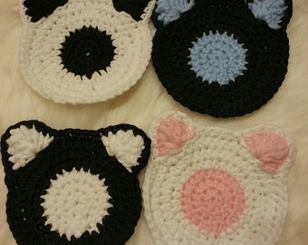 Bear Cub Crochet Coasters: Set of 4