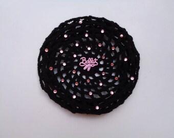 X-Large Bun Cover with Pink Rhinestones and Adornment, Bun Holder, Crochet Bun Cover, Bun Wrap, Snood, Ballet, Dance