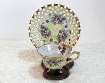 Napco Violets Design Footed Teacup With Pierced Edge Saucer