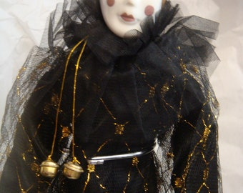 Porcelain Pierrot Harlequin 17 inch Jester Clown Doll Black Gold with stand Vintage